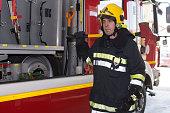 Fireman on duty,under Exposed photo
