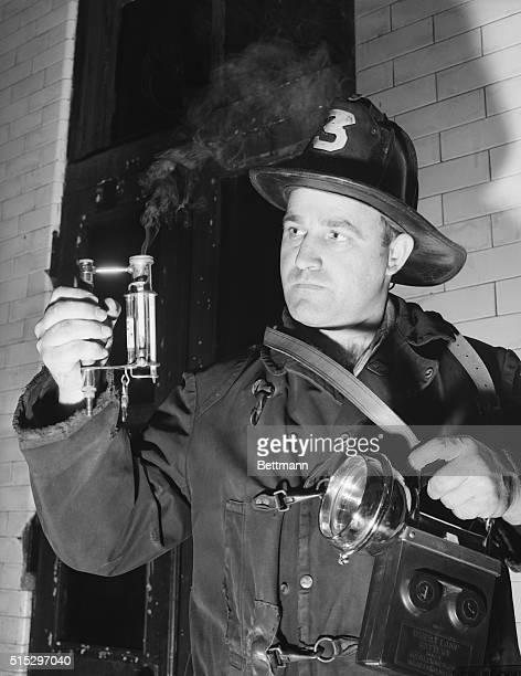 Fireman Robert Winning uses a carbon monoxide detector The vapor results from the combination of chemicals in the tester with the sample being tested...