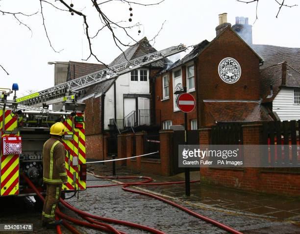 Fireman tackle a blaze in the Pizza Express building in Ashford Kent