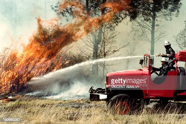 A fireman tries to extinguish a forest fire near Le Barp southwestern France on August 12 1990 AFP PHOTO VINCENT AMALVY