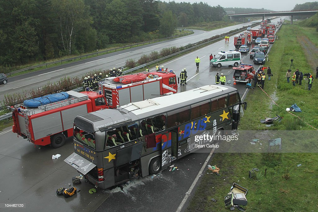 several killed in motorway bus crash near berlin getty images. Black Bedroom Furniture Sets. Home Design Ideas