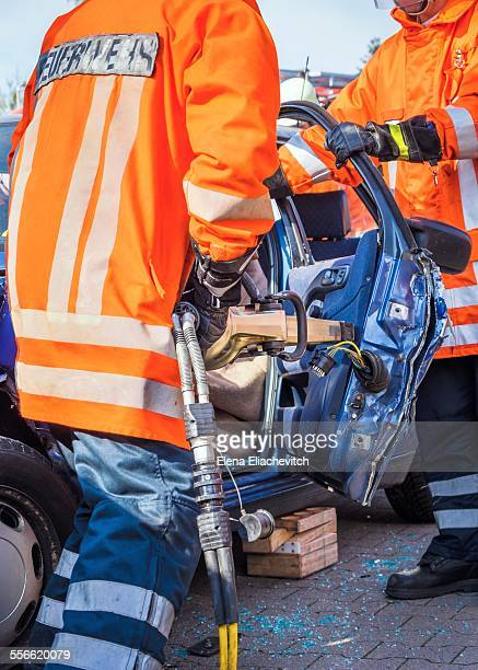 Firemen at car accident