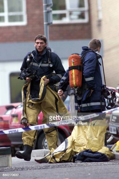Firemen at the Western General Hospital in Edinburgh where a Genetics research laboratory worker died and four people were injured in a chemical...