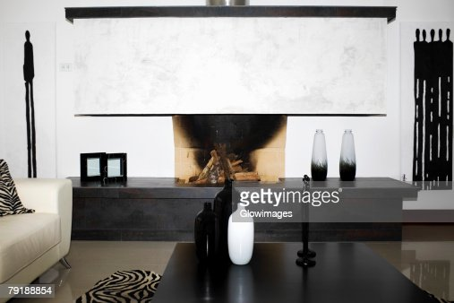 Fireplace in a room : Stock Photo