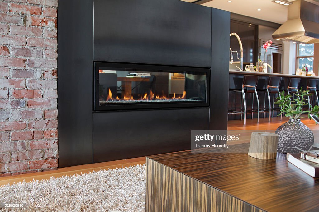 Fireplace in modern interior : ストックフォト