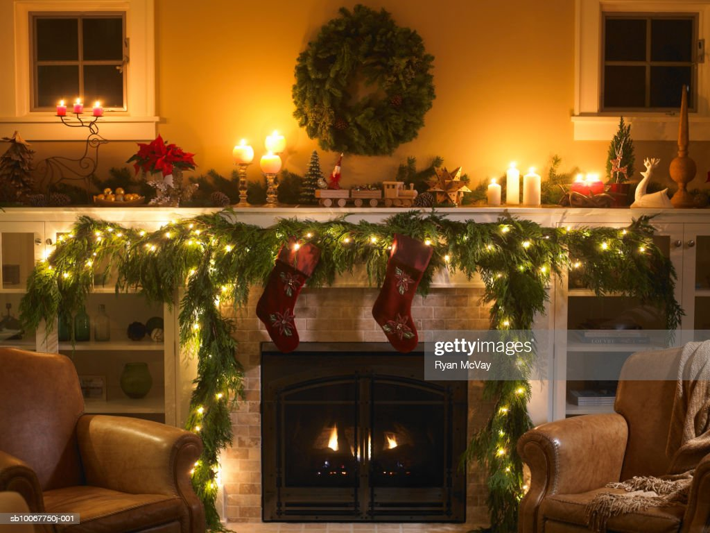 Fireplace with Christmas decoration