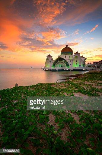 Firery sunset at Malacca Straits Mosque