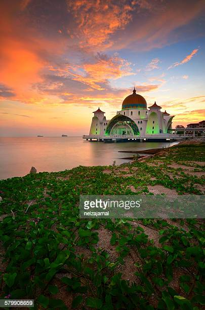 Firery sunset at Malacca Straits Mosque