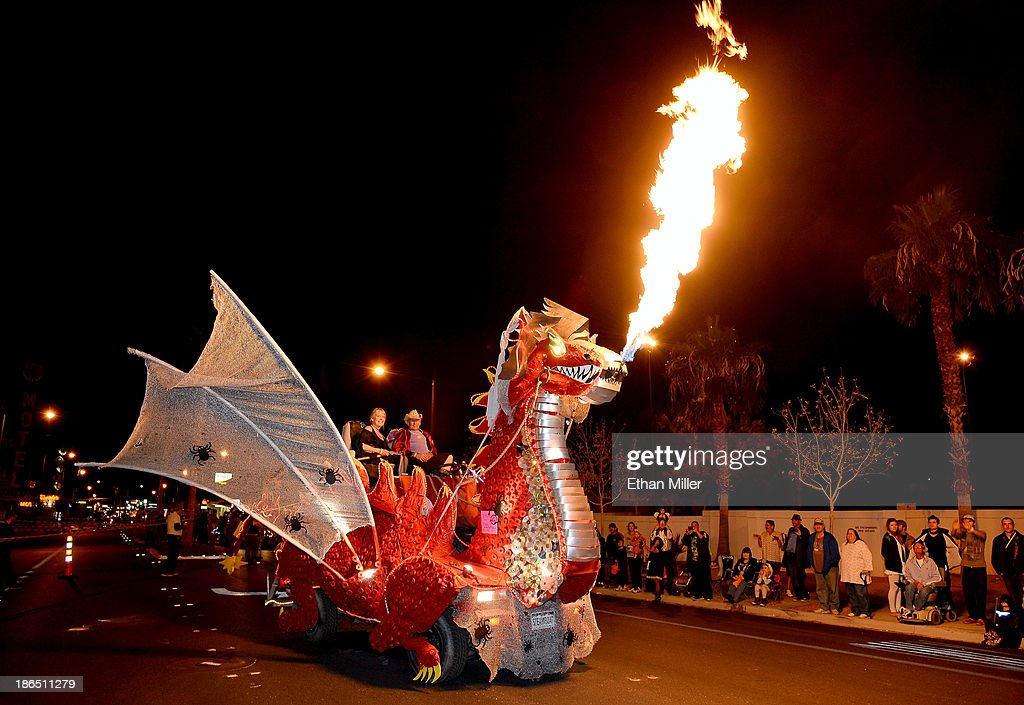 A fire-spewing, dragon-themed float participates in the fourth annual Las Vegas Halloween Parade on October 31, 2013 in Las Vegas, Nevada.