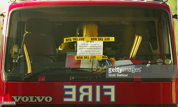 A firetruck is left unused at the Willesden Green Fire Station November 22 2002 in London England Angry British firefighters pressed ahead with the...