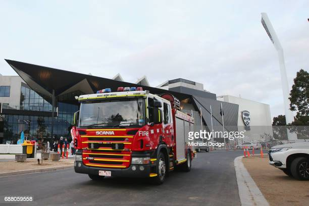 A firetruck is seen after the stadium was evacuted due to a false fire alarm during the round ten AFL match between the Geelong Cats and the Port...