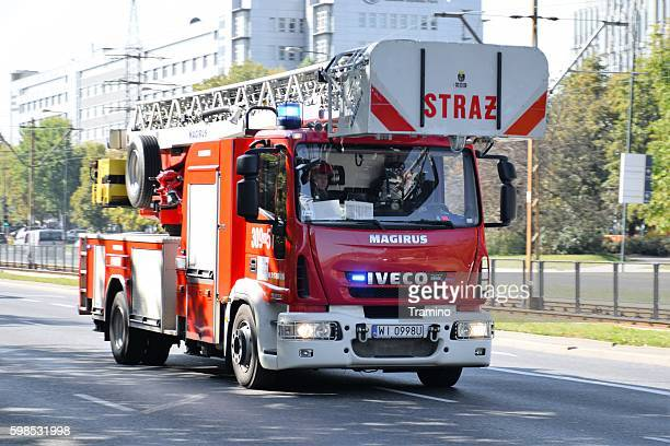 Firetruck IVECO driving on the street