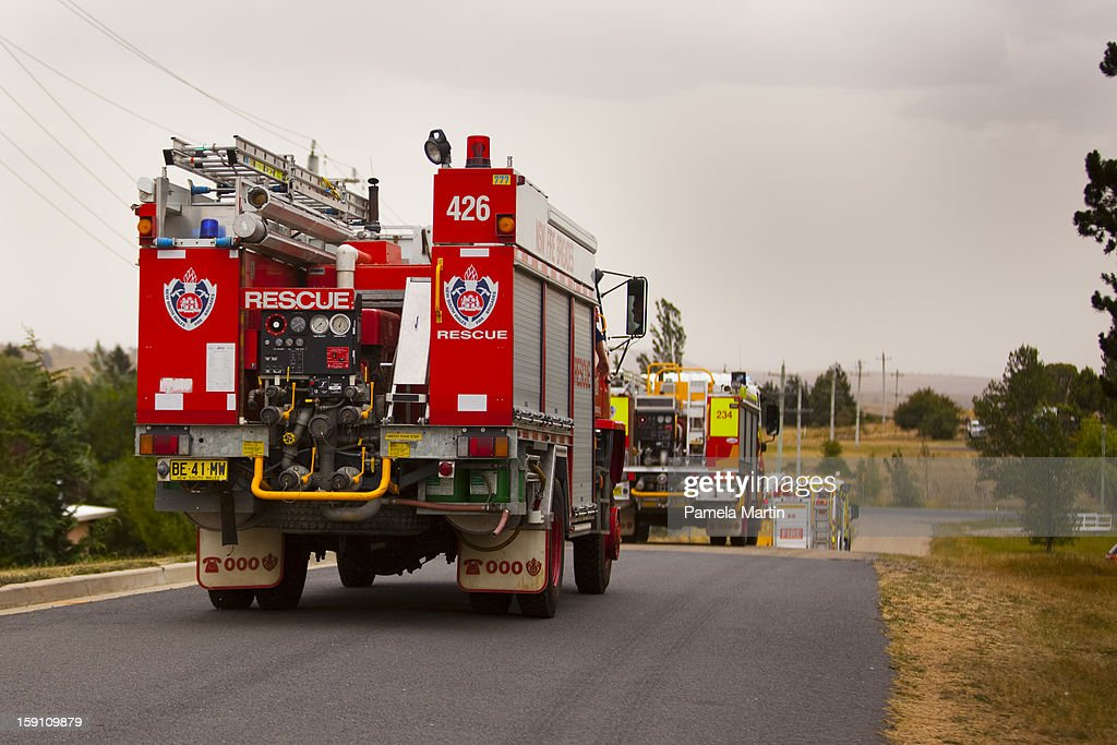 A firetruck rushes towards the Kybeyan Valley, New South Wales on January 8, 2013 in Nimmitabel, Australia. NSW was declared a total fire ban with the Illawarra, Shoalhaven and Southern Ranges regions placed on 'Catastrophic' alert.