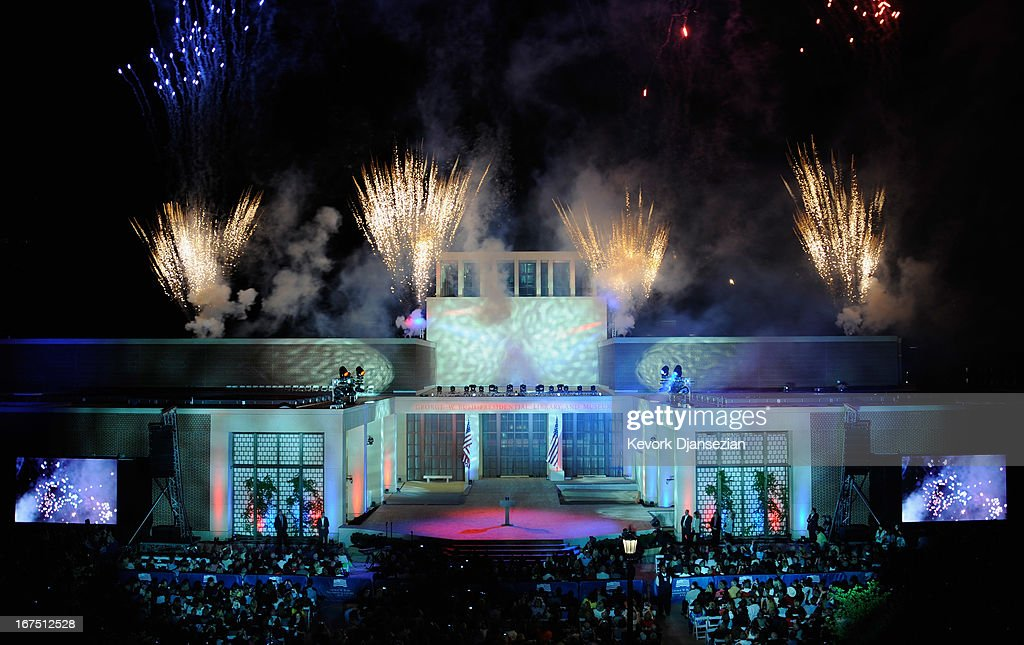 Firewaroks light up the sky after lighting of the Freedom Hall with former President George W. Bush and former first lady Laura Bush in attendance during the opening ceremony of the George W. Bush Presidential Center April 25, 2013 in Dallas, Texas. The Bush library, which is located on the campus of Southern Methodist University, with more than 70 million pages of paper records, 43,000 artifacts, 200 million emails and four million digital photographs, will be opened to the public on May 1, 2013. The library is the 13th presidential library in the National Archives and Records Administration system.