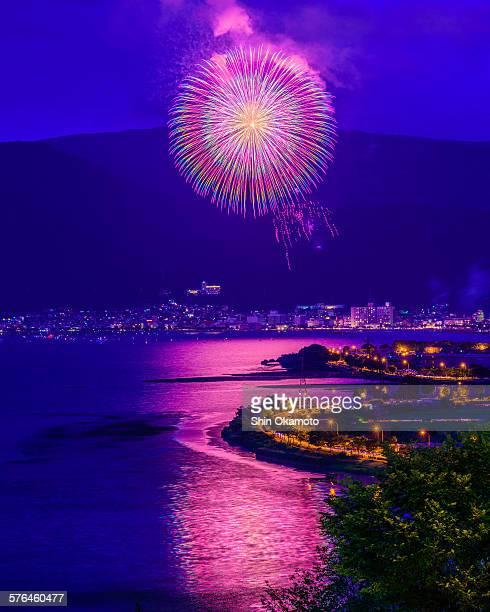 Firewoks festival in lake Suwa.