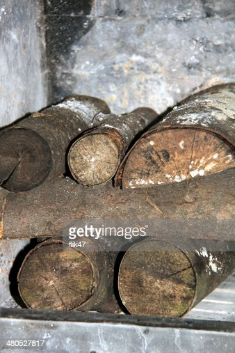 Firewood in the stove : Stock Photo