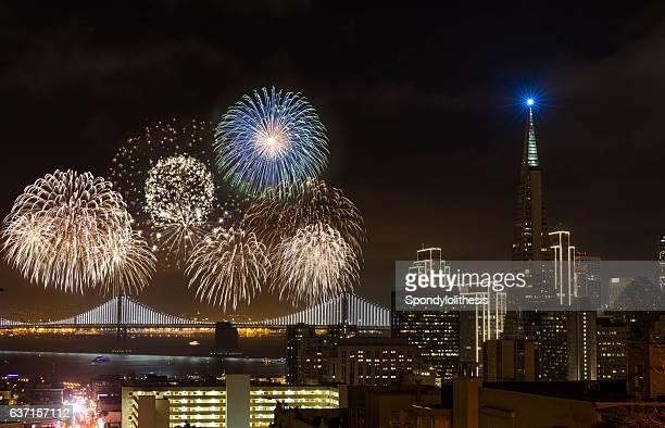 Firework at San Francisco Downtown New Year, California