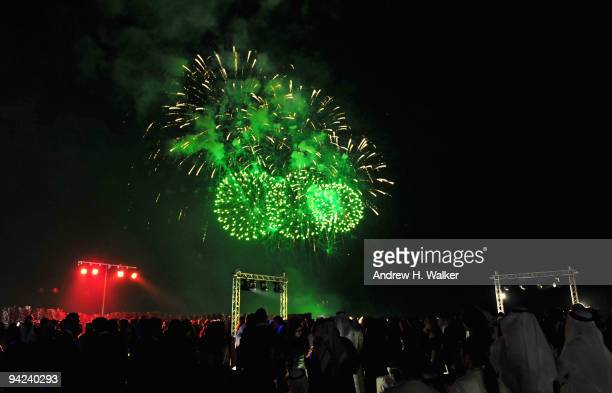 A firework display at the Opening Night Party during day one of the 6th Annual Dubai International Film Festival held at the Madinat Jumeriah Complex...