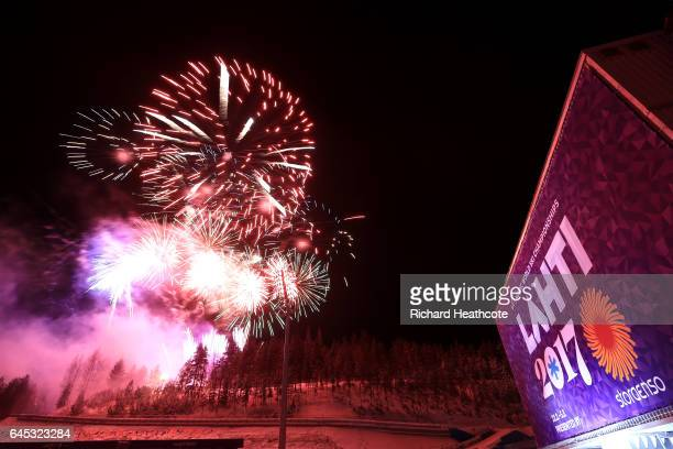 A firework display closes out the day after the Men's Ski Jumping HS100 at the FIS Nordic World Ski Championships on February 25 2017 in Lahti Finland