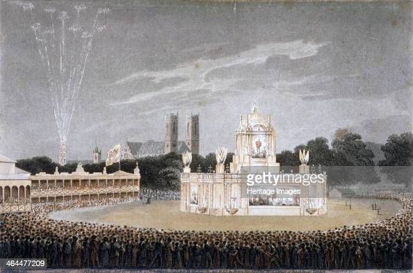 Firework display in Green Park Westminster London 1814 View of the Temple of Concord in Green Park Westminster during the firework display to...