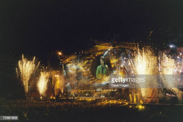 A firework display marks the culmination of the Rolling Stone's 'Bridges to Babylon' tour at a concert at Ohio Stadium Columbus 27th September 1997