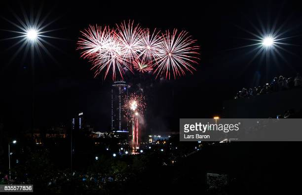 A firework is seen over the city center on August 19 2017 in Ekaterinburg Russia