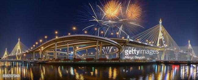 Firework with The Bhumibol Bridge in Bangkok