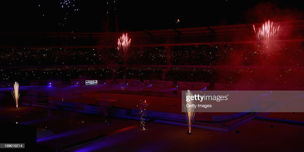 Fireworks after the DEL Winter Game 2013 at Stadion Nuernberg on January 5, 2013 in Nuremberg, Germany.