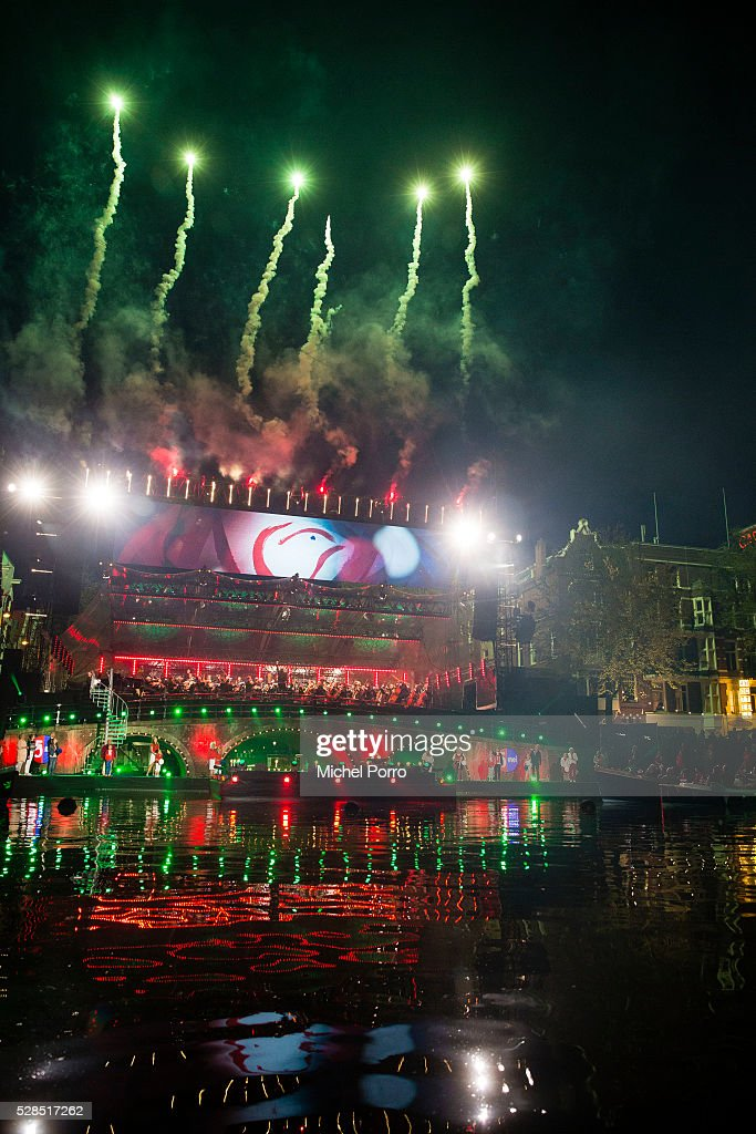 Fireworks after the Liberation Day Concert on May 5, 2016 in Amsterdam, Netherlands. Liberation Day (Dutch: Bevrijdingsdag) is celebrated each year on May the 5th to mark the end of the occupation by Nazi Germany during World War II.