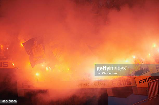Fireworks among the fans of Brondby IF prior to the UEFA Europa League Play Off Round 2nd Leg match between Brondby IF and PAOK Saloniki at Brondby...