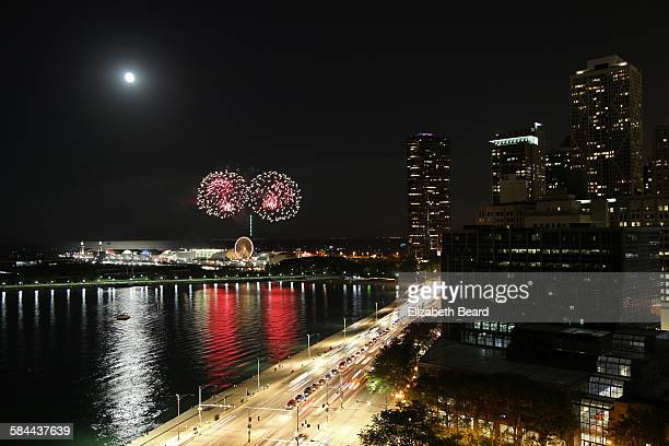 Fireworks and full moon over Navy Pier, Chicago