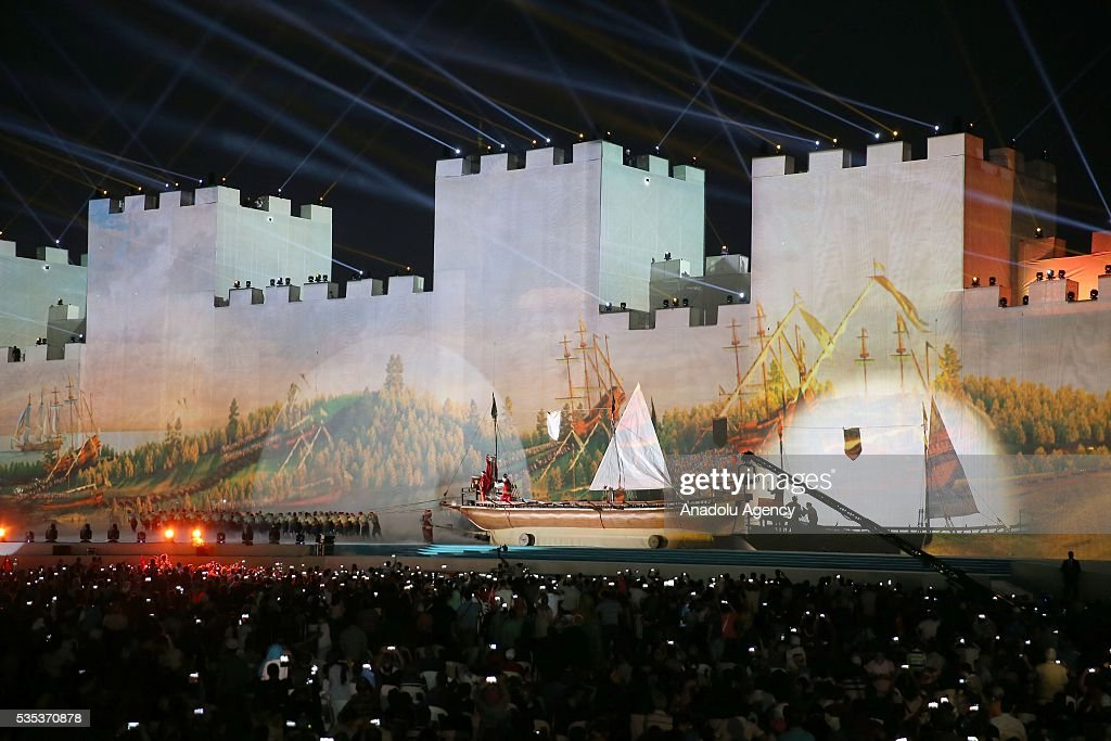 Fireworks and light show with an enaction of conquest of Istanbul, is seen during the celebrations of the 563rd anniversary of Istanbuls conquest by Turks at Yenikapi Event Area in Istanbul, Turkey on May 29, 2016. On May 29, 1453, Ottoman Sultan Mehmed II (Mehmet the Conqueror) conquered Istanbul, then called Constantinople, from where the Byzantines had ruled the Eastern Roman Empire for more than 1,000 years. The conquest transformed the city, once the heart of the Byzantine realm, into the capital of the new Ottoman Empire.