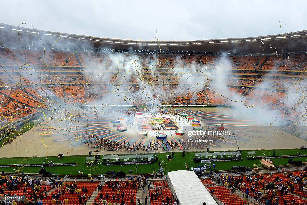 Fireworks and performers during the opening ceremony of the 2013 African Cup of Nations at the National Stadium on January 19, 2013 in Johannesburg, South Africa.