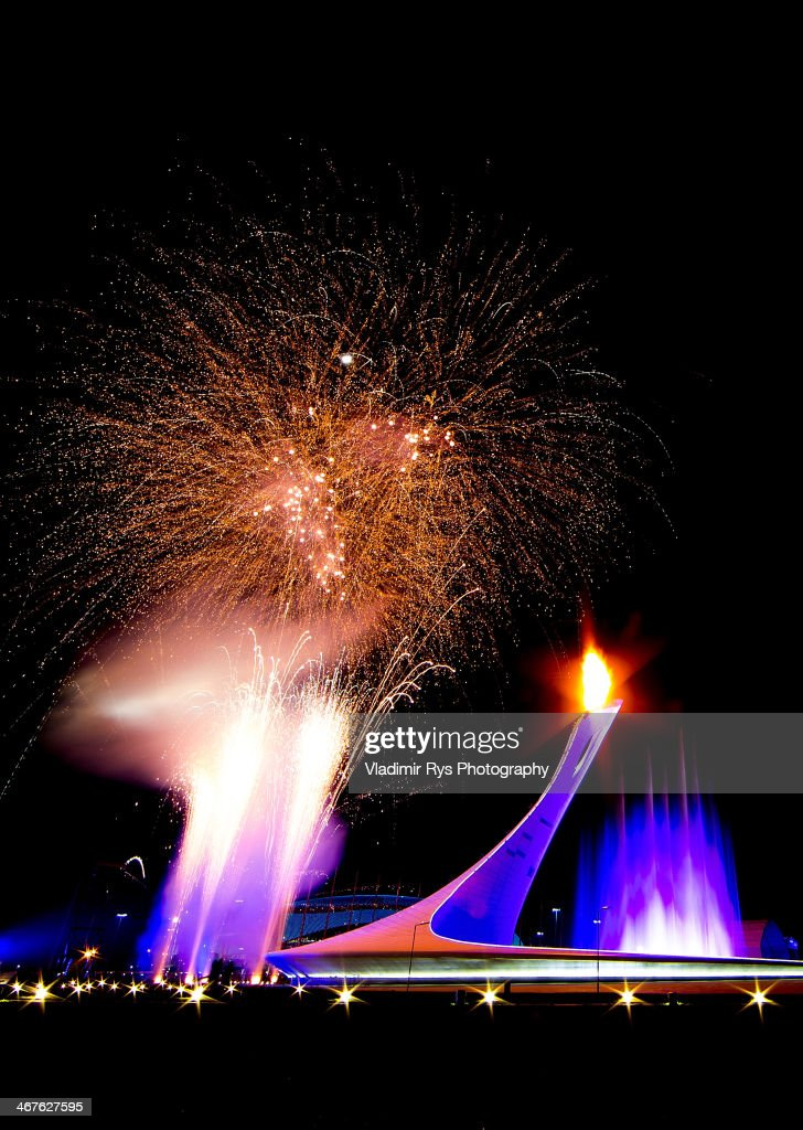 Fireworks and the Olympic Flame on display over the Olympic Park during the Opening Ceremony of the Sochi 2014 Winter Olympics at Fisht Olympic Stadium on February 7, 2014 in Sochi, Russia.