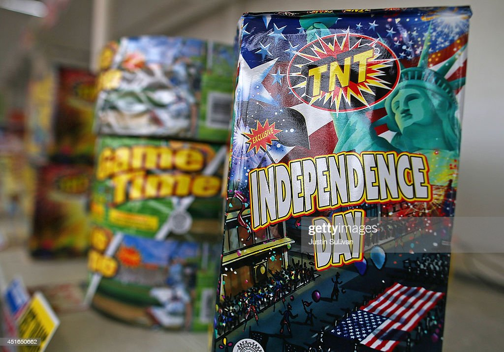 Fireworks are displayed at the Camp St. Andrews fireworks stand on July 3, 2014 in San Bruno, California. As California's historic drought continues and fire danger is at severe levels, fire departments in the greater San Francisco Bay Area are on heightened alert as vendors in select cities in Santa Clara, San Mateo and Alameda counties sell fireworks ahead of the Fourth of July holiday.