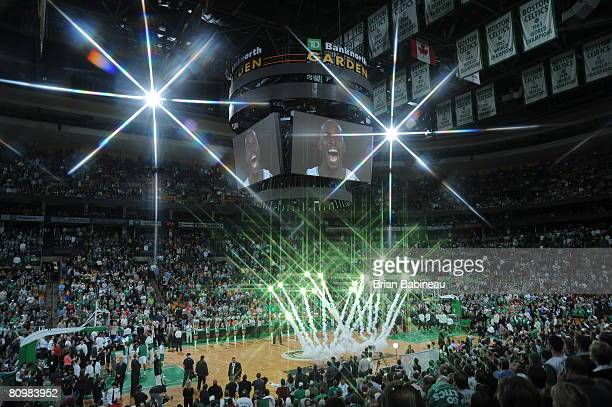Fireworks are displayed in a pregame ceremony before the game between the Boston Celtics and the Atlanta Hawks in Game Seven of the Eastern...