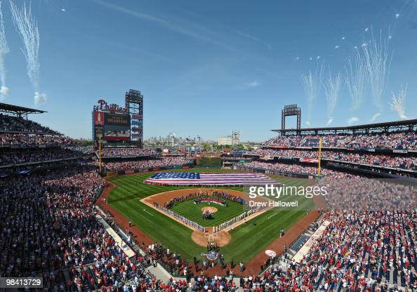 Fireworks are launched during the National Anthem before the game between the Philadelphia Phillies and Washington Nationals on Opening Day at...