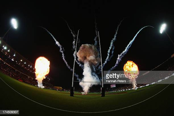 Fireworks are let off before the Super Rugby semi final match between the Chiefs and the Crusaders at Waikato Stadium on July 27 2013 in Hamilton New...