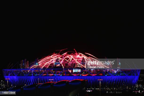 Fireworks are let off over the olympic stadium during the Opening Ceremony of the London 2012 Olympic Games at the Olympic Stadium on July 27 2012 in...