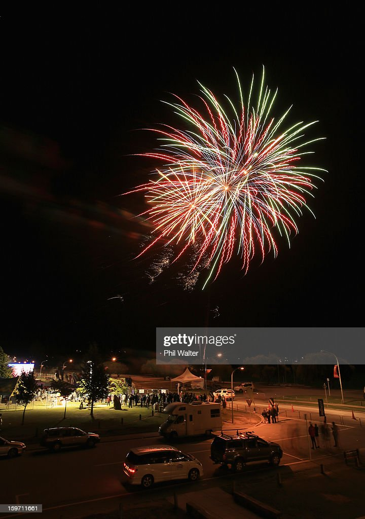 Fireworks are let off to celebrate the end of the Challenge Wanaka on January 19, 2013 in Wanaka, New Zealand.
