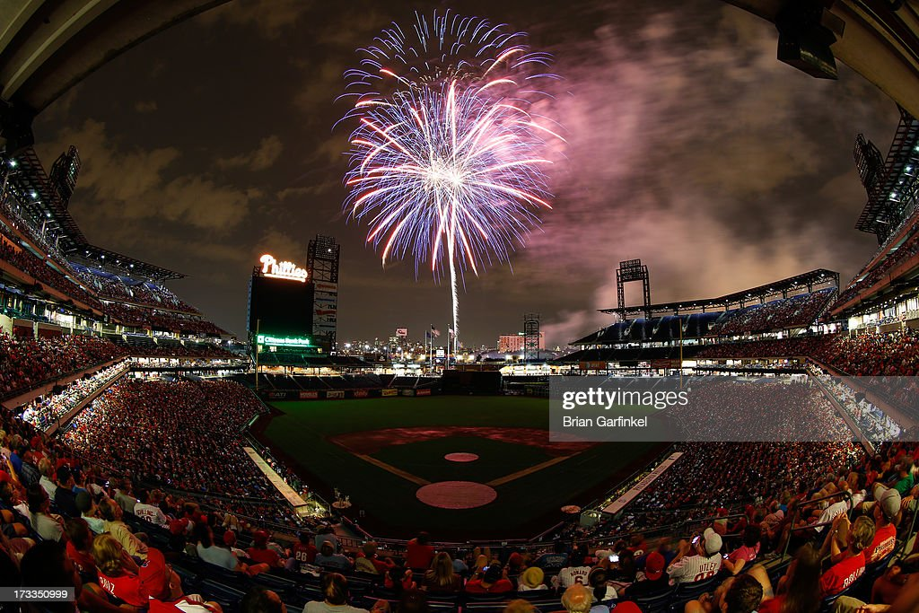 Fireworks are seen after the game between the Washington Nationals and the Philadelphia Phillies at Citizens Bank Park on July 11, 2013 in Philadelphia, Pennsylvania. The Phillies won 3-1.