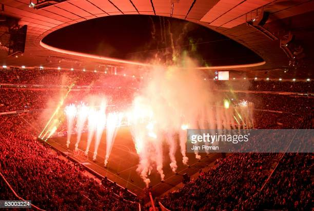 Fireworks are seen after the opening game between FC Bayern Munich and the German Football National Team in the Allianz Arena on May 31 2005 in...