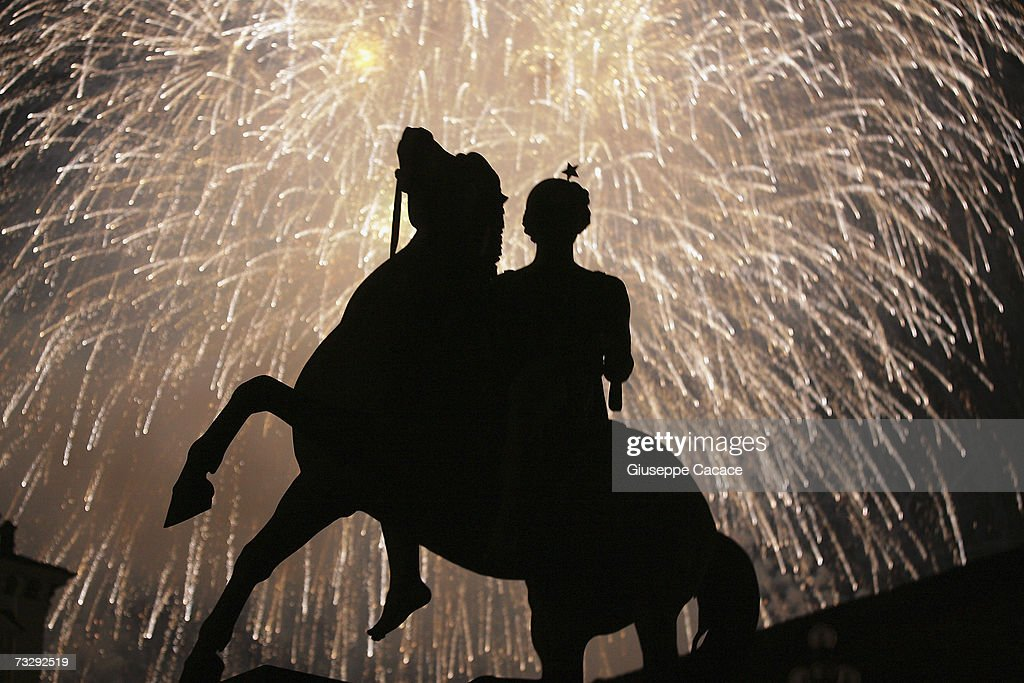 Fireworks are seen at Piazza Castello to commermorate One year after the Olympic Games on February 10, 2007 in Turin, Italy.