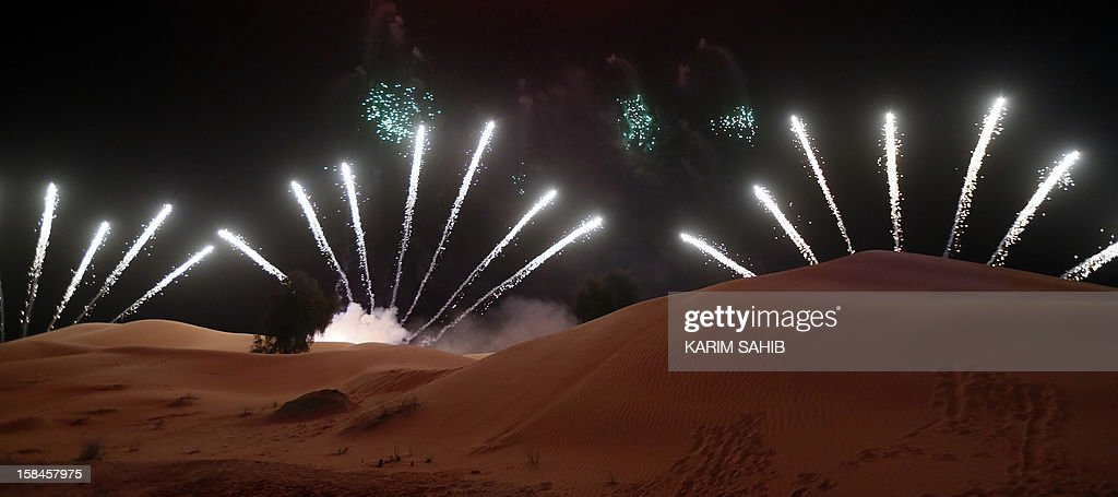 Fireworks are seen at the closing ceremony of the 9th annual Dubai Film Festival, during a display held in the desert on the outskirts of Dubai on December 16, 2012. Saudi movie 'Wadjda,' a tale of a girl's quest to own a bicycle in the kingdom where women are deprived of many rights, won the best Arabic feature film at the festival.