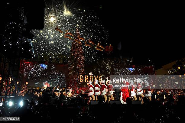 Fireworks are seen at The Grove Christmas with Seth MacFarlane at The Grove on November 14 2015 in Los Angeles California