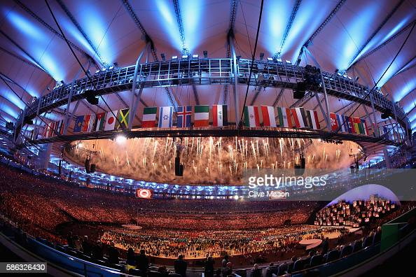 Fireworks are seen during the opening ceremony for the Rio 2016 Olympic Games on August 5 2016 in Rio de Janeiro Brazil