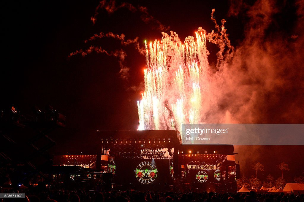 Fireworks are seen during the performance of Guns N' Roses during day 2 of the 2016 Coachella Valley Music & Arts Festival Weekend 2 at the Empire Polo Club on April 23, 2016 in Indio, California.