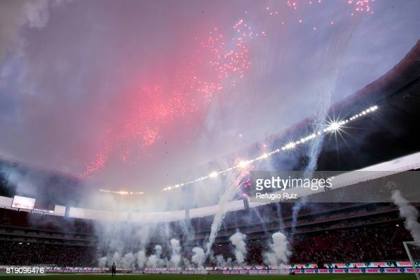 Fireworks are seen inside the Stadium prior the friendly match between Chivas and Porto at Chivas Stadium on July 19 2017 in Zapopan Mexico