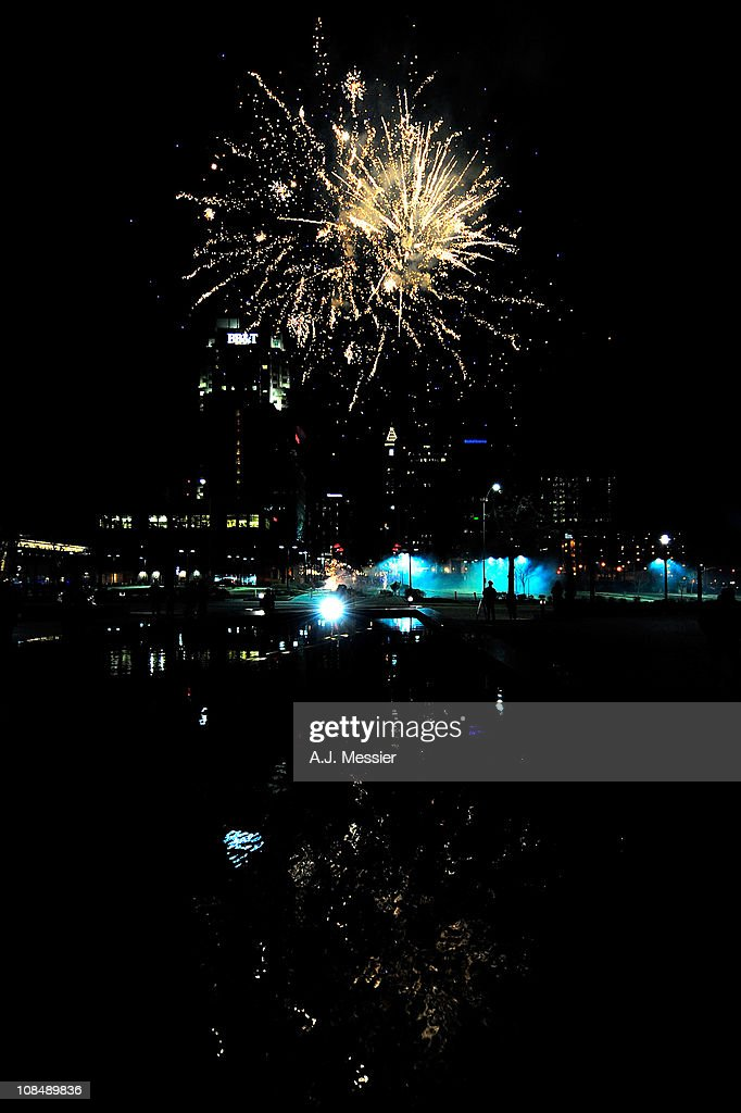 Fireworks are seen over downtown Raleigh during NHL All-Star Wide Open part of 2011 NHL All-Star Weekend on January 28, 2011 in Raleigh, North Carolina.