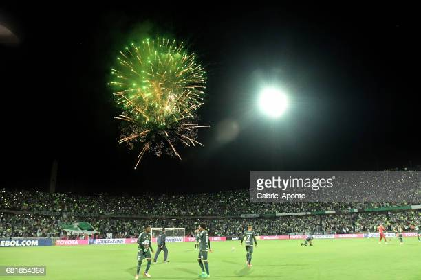 Fireworks are seen prior a match between Atletico Nacional and Chapecoense as part of CONMEBOL Recopa Sudamericana 2017 at Atanasio Girardot Stadium...